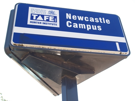 Newcastle Campus original light box sign