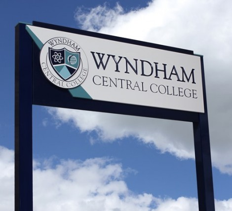 wyndham central college new school sign