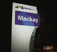 Mackay monument sign lit at night