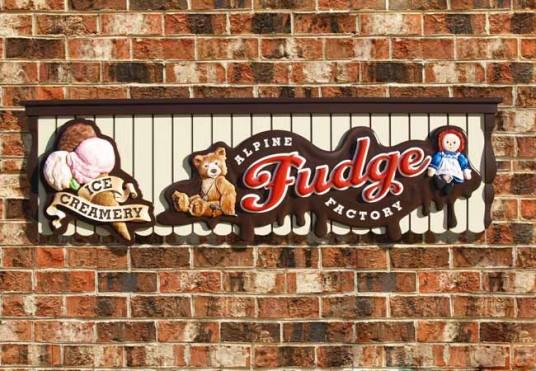 Alpine Fudge Factory Business Sign