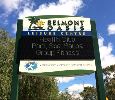 Belmont Oasis Leisure Centre LED sign