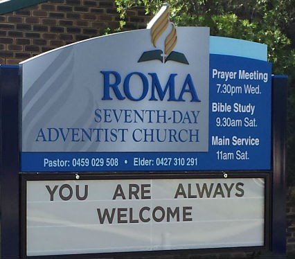 Roma Seventh-day Adventist Church Sign