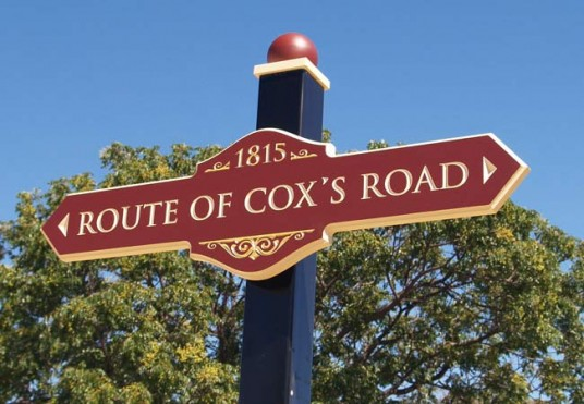 Route of Cox's Road Sign