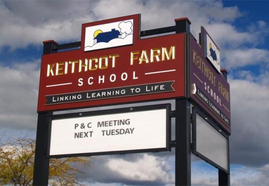 Keithcot Farm School message board sign