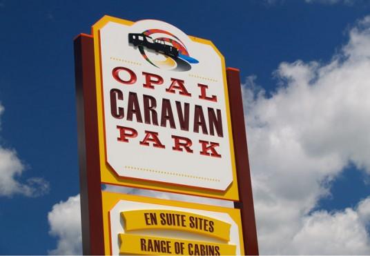 dimensional_entry_sign_for_Opal_caravan_park