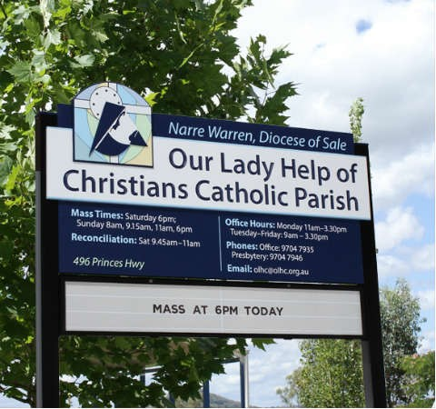 Our Lady Help of Christians Catholic Church entry sign