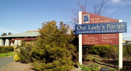 Our Lady's Parish of Craigieburn and Roxburgh Park sign