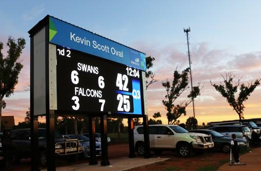 electronic-full-matrix-sports-scoreboard-at-dusk-port-hedland