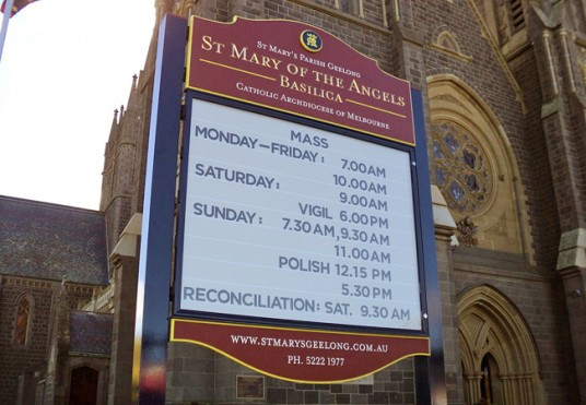 St Mary of the Angels Basilica, Geelong sign