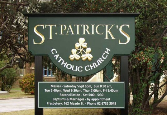St Patrick's Catholic Church Glen Innes sign