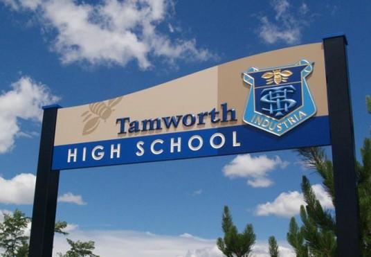 Tamworth High School Sign  Danthonia Designs Au. Beetlejuice Signs. Hotel Sign. Sample Stickers. Usc Logo. Sen Signs. Winnie The Pooh Decals. Olympics La Logo. Triangular Murals