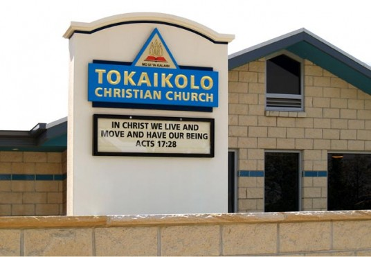 Tokaikolo Church Message board sign