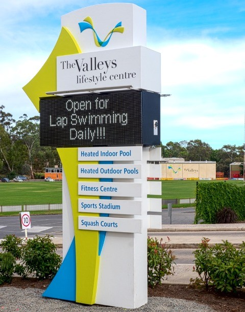Clare and Gilbert Valleys Lifestyle Centre LED sign