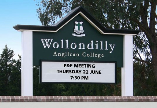 Wollondilly Anglican School Sign
