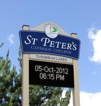 St Peter's Catholic College Tuggerah LED Sign - Danthonia ...