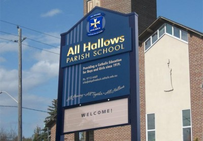 All Hallows School and Parish, Five Dock signs