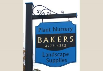 Bakers plant nursery shingle sign