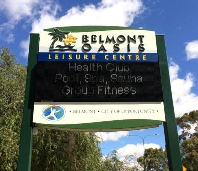 Belmont Oasis Leisure Centre LED sign