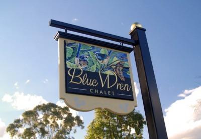 Blue Wren Chalet B&B Sign