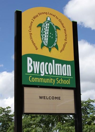 Bwgcolman Community School entrance signs