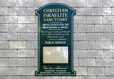 Christian Israelite Sanctuary, Melbourne sign