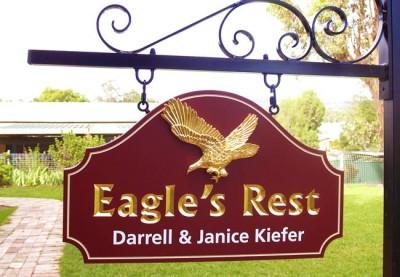 Eagles Rest gilded house sign