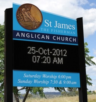 St James the Fisherman Anglican Church, Yeppoon LED sign