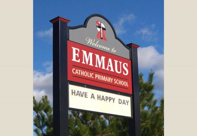 Emmaus Catholic Primary School message board sign