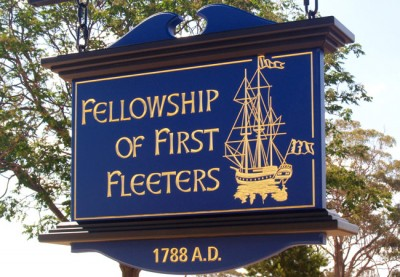 heritage hand crafted sign for the Fellowship of the First Fleeters