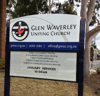 Glen Waverley Uniting Church, Glen Waverley VIC entry sign