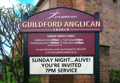 Guildford Anglican Church message board sign