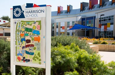 Harrison School signs