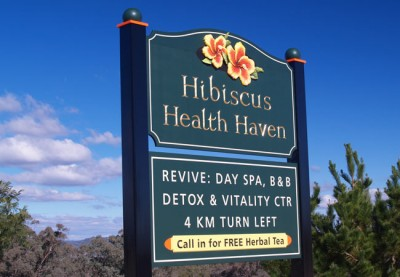 Hibiscus Health Haven Business Sign