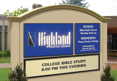 Highland Baptist Monument Church Sign