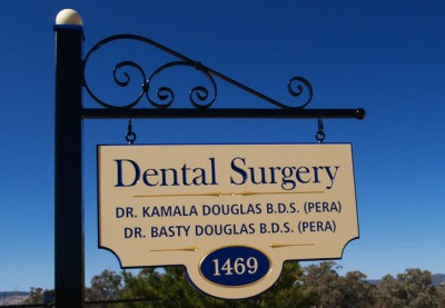 Kamala Douglas Dentist Sign