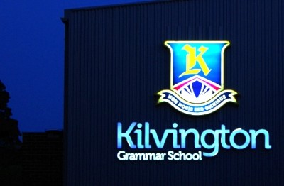 Kilvington Grammar School Sports Centre illuminated sign