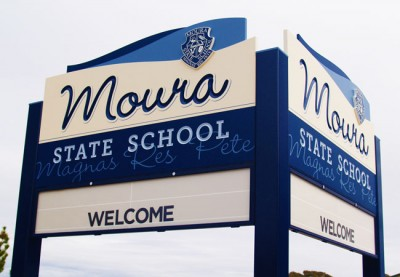 Moura State School sign