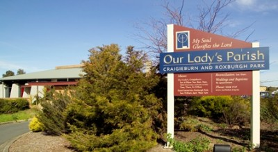 Our Lady's Parish of Craigieburn and Roxburgh Park sign