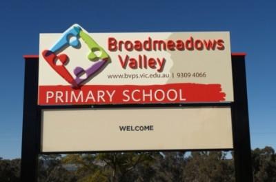 Broadmeadows Valley Primary School sign