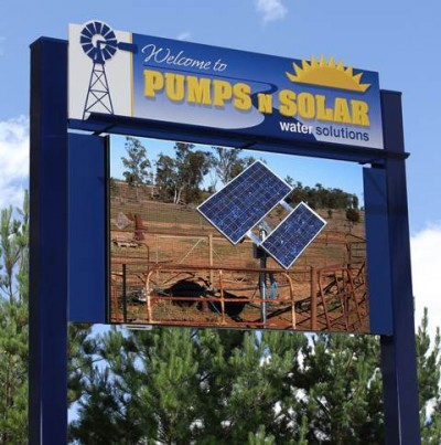 Pumps N Solar Water Solutions LED sign