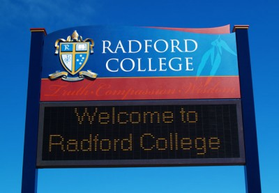 Radford College Entrance Sign