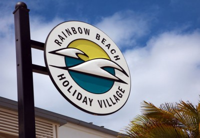 Rainbow Beach Holiday Village Motel Sign