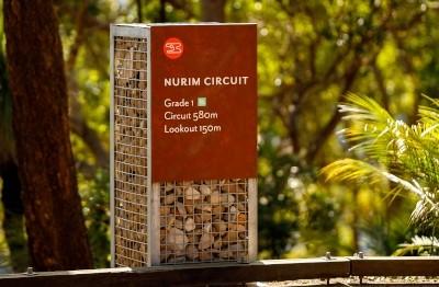 park-signage-with-local-rock-gabion-cage-australia
