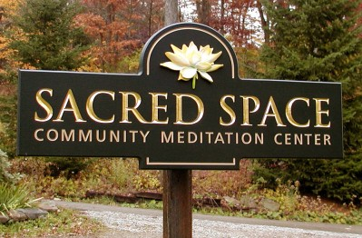Sacred Space Church Entrance Sign