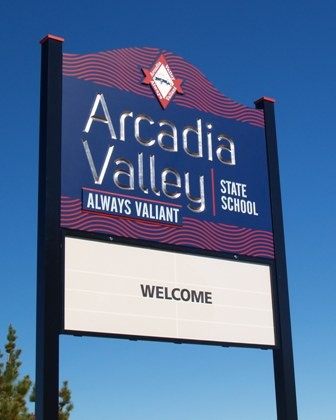 Arcadia Valley State School message board sign