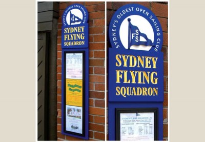 wall mounted information and branding sign for the Sydney Flying Squadron