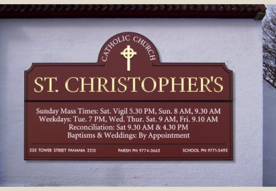 St. Christopher's Church Sign