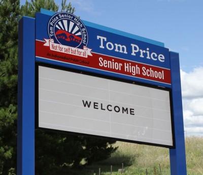 Tom Price Senior High School message board sign