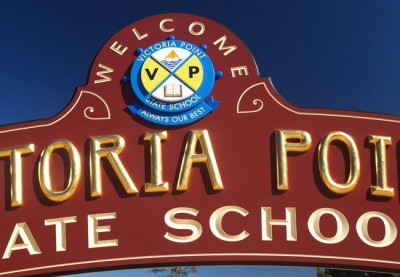 Detail on Victoria Point School sign