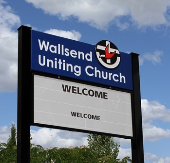 Wallsend Uniting Church magnetic message board entry sign